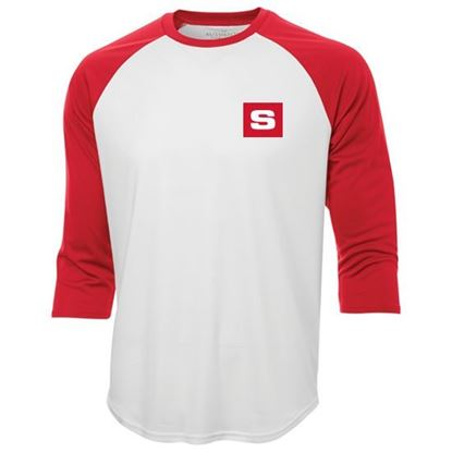 Picture of T-shirt baseball unisexe blanc/rouge S3526